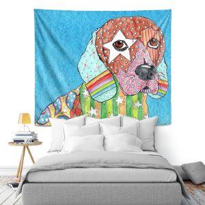 Artistic Wall Tapestry | Marley Ungaro Beagle Dog Aqua