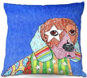 Throw Pillows Decorative Artistic | Marley Ungaro Beagle Dog Blue