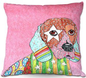 Decorative Outdoor Patio Pillow Cushion | Marley Ungaro - Beagle Dog Light Pink