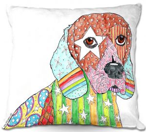 Decorative Outdoor Patio Pillow Cushion | Marley Ungaro - Beagle Dog White