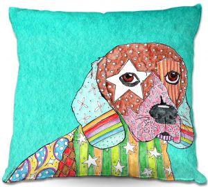 Throw Pillows Decorative Artistic | Marley Ungaro Beagle Dog Turquoise
