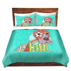 Artistic Duvet Covers and Shams Bedding | Marley Ungaro - Beagle Dog Turquoise