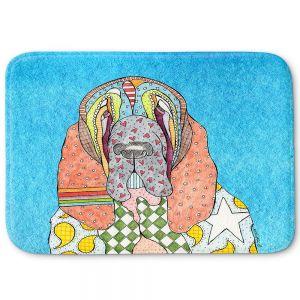 Decorative Bathroom Mats | Marley Ungaro - Bloodhound Aqua | Abstract pattern whimsical