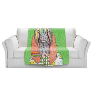 Artistic Sherpa Pile Blankets   Marley Ungaro - Bloodhound Green   Abstract pattern whimsical