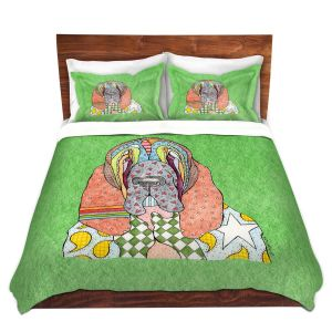 Artistic Duvet Covers and Shams Bedding | Marley Ungaro - Bloodhound Green | Abstract pattern whimsical