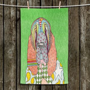 Unique Hanging Tea Towels | Marley Ungaro - Bloodhound Green | Abstract pattern whimsical