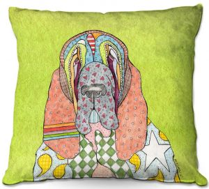 Decorative Outdoor Patio Pillow Cushion | Marley Ungaro - Bloodhound Lime | Abstract pattern whimsical