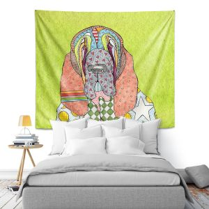 Artistic Wall Tapestry | Marley Ungaro - Bloodhound Lime | Abstract pattern whimsical