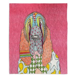Decorative Fleece Throw Blankets | Marley Ungaro - Bloodhound Pink | Abstract pattern whimsical