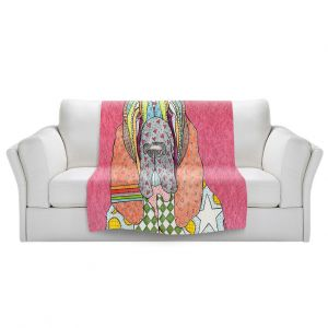 Artistic Sherpa Pile Blankets | Marley Ungaro - Bloodhound Pink | Abstract pattern whimsical