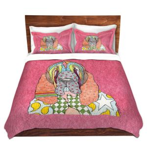 Artistic Duvet Covers and Shams Bedding | Marley Ungaro - Bloodhound Pink | Abstract pattern whimsical