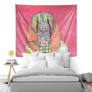Artistic Wall Tapestry | Marley Ungaro - Bloodhound Pink | Abstract pattern whimsical