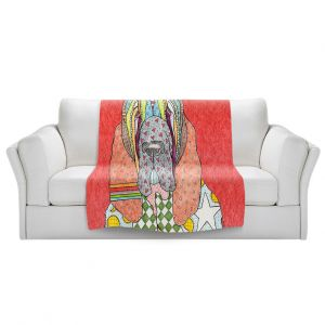 Artistic Sherpa Pile Blankets   Marley Ungaro - Bloodhound Watermelon   Abstract pattern whimsical