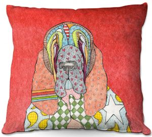 Decorative Outdoor Patio Pillow Cushion | Marley Ungaro - Bloodhound Watermelon | Abstract pattern whimsical