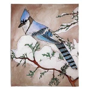 Decorative Fleece Throw Blankets | Marley Ungaro - Bluejay | Still live animal bird winter nature tree branch