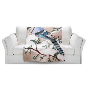 Artistic Sherpa Pile Blankets   Marley Ungaro - Bluejay   Still live animal bird winter nature tree branch