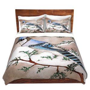 Artistic Duvet Covers and Shams Bedding | Marley Ungaro - Bluejay | Still live animal bird winter nature tree branch