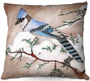 Decorative Outdoor Patio Pillow Cushion | Marley Ungaro - Bluejay | Still live animal bird winter nature tree branch