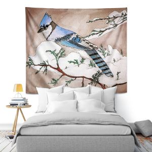 Artistic Wall Tapestry | Marley Ungaro - Bluejay | Still live animal bird winter nature tree branch