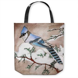 Unique Shoulder Bag Tote Bags | Marley Ungaro - Bluejay | Still live animal bird winter nature tree branch