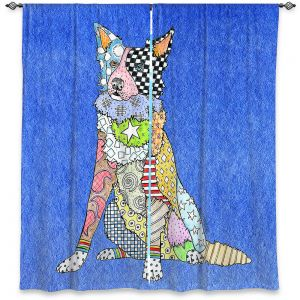 Unique Window Curtain Unlined 40w x 52h from DiaNoche Designs by Marley Ungaro - Border Collie Blue