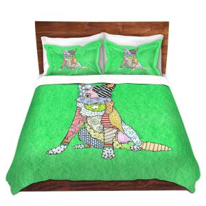 Artistic Duvet Covers and Shams Bedding | Marley Ungaro - Border Collie Kelly Green