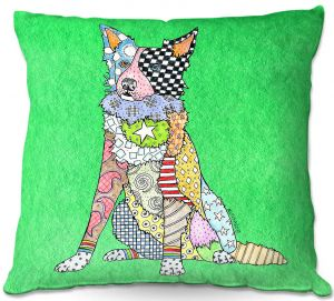 Decorative Outdoor Patio Pillow Cushion | Marley Ungaro - Border Collie Kelly Green