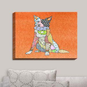 Decorative Canvas Wall Art   Marley Ungaro - Border Collie Orange   Dog Animal Pet Border Collie Colorful Funky