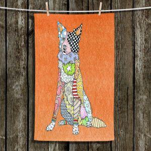 Unique Hanging Tea Towels | Marley Ungaro - Border Collie Orange | Dog Animal Pet Border Collie Colorful Funky