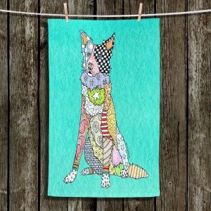 Unique Hanging Tea Towels | Marley Ungaro - Border Collie Turquoise | Dog Animal Pet Border Collie Colorful Funky