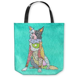 Unique Shoulder Bag Tote Bags |Marley Ungaro - Border Collie Turquoise
