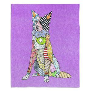 Decorative Fleece Throw Blankets   Marley Ungaro - Border Collie Violet