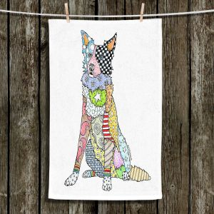Unique Hanging Tea Towels | Marley Ungaro - Border Collie White | Dog Animal Pet Border Collie Colorful Funky