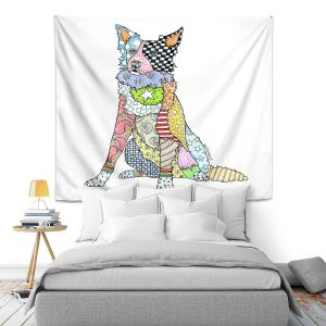 Artistic Wall Tapestry | Marley Ungaro - Border Collie White