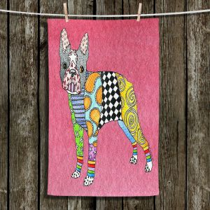 Unique Hanging Tea Towels | Marley Ungaro - Boston Terrier Pink | Dog Animal Pet Funky Boston Terrier Colorful