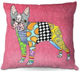 Decorative Outdoor Patio Pillow Cushion | Marley Ungaro - Boston Terrier Pink