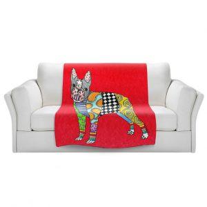 Artistic Sherpa Pile Blankets   Marley Ungaro - Boston Terrier Red