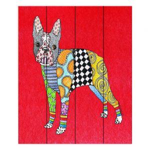 Decorative Wood Plank Wall Art  Marley Ungaro - Boston Terrier Red