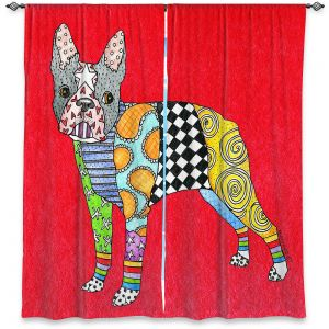 Decorative Window Treatments | Marley Ungaro - Boston Terrier Red