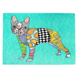 Countertop Place Mats | Marley Ungaro - Boston Terrier Turquoise