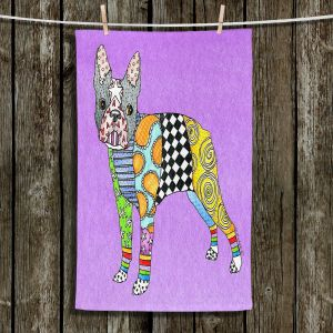 Unique Hanging Tea Towels | Marley Ungaro - Boston Terrier Violet | Dog Animal Pet Funky Boston Terrier Colorful