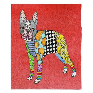 Artistic Sherpa Pile Blankets   Marley Ungaro - Boston Terrier Watermelon