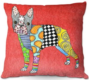 Throw Pillows Decorative Artistic | Marley Ungaro - Boston Terrier Watermelon