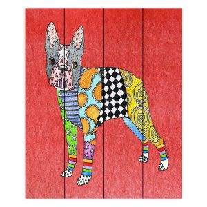 Decorative Wood Plank Wall Art |Marley Ungaro - Boston Terrier Watermelon