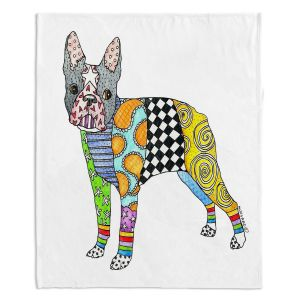 Decorative Fleece Throw Blankets   Marley Ungaro - Boston Terrier White