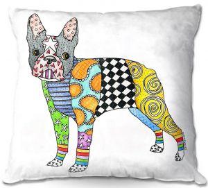 Decorative Outdoor Patio Pillow Cushion | Marley Ungaro - Boston Terrier White