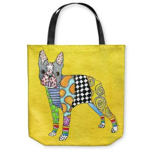 Unique Shoulder Bag Tote Bags |Marley Ungaro - Boston Terrier Yellow