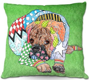 Decorative Outdoor Patio Pillow Cushion | Marley Ungaro - Boxer Dog Green