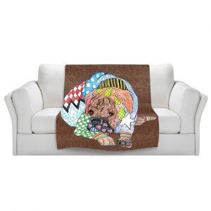 Artistic Sherpa Pile Blankets   Marley Ungaro Boxer Dog Light Brown