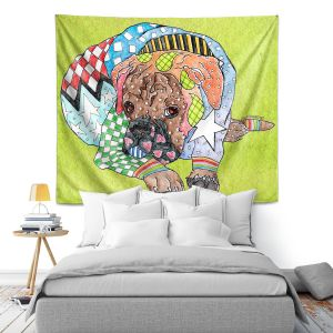 Artistic Wall Tapestry | Marley Ungaro Boxer Dog Lime